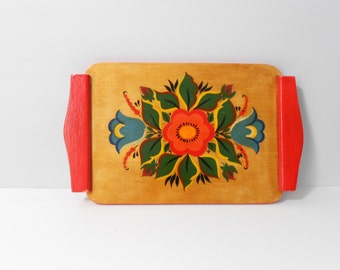Small Wooden Tray - Hand Painted - Flowers - Red Handles - Boho Decor