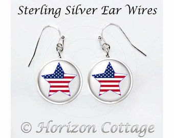 US Flag Earrings, Star Shaped American Flag, Patriotic Earrings, American Flag Earrings, Red White and Blue Earrings, Your Choice of Finish