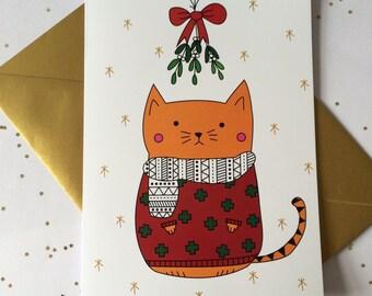 Christmas Jumper Cat Card
