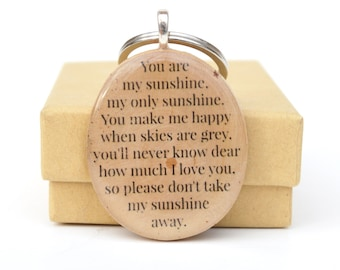 You are my sunshine keychain custom keychains gift for daughter gift for women gift for mom going away gift wood keychain