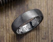 6mm Half Round Mens Wedding Band, Rhodium Plated