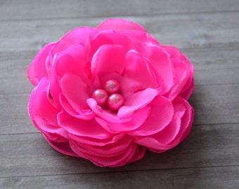 Pink Bridal Hair Flower, Fuschia Hair Clip, Wedding Hair Accessory, Hair Fascinator, Hair Piece, Bridesmaid, Flower for Hair, Bridal Shower