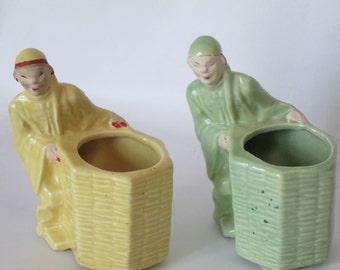 2 McCoy Planters of Asian Man and Cart.  Matt Green and Yellow in Terrific Condition.
