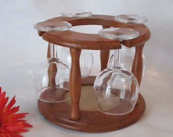 Teak Wood Wine Caddy and 4 Glasses.  Made in Thailand