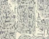 Passport by Moda - New York City Map - Black & White - Grey - Fat Quarter FQ Cotton Quilt Fabric 516