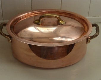 Vintage Professional Lidded Copper Stew, Casserole Pan, Unused