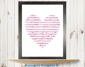 Musical notes printable, Heart Printable, Pink prints, Love printable art,Romantic prints, Music printables,Girl poster wall decor, Hot pink