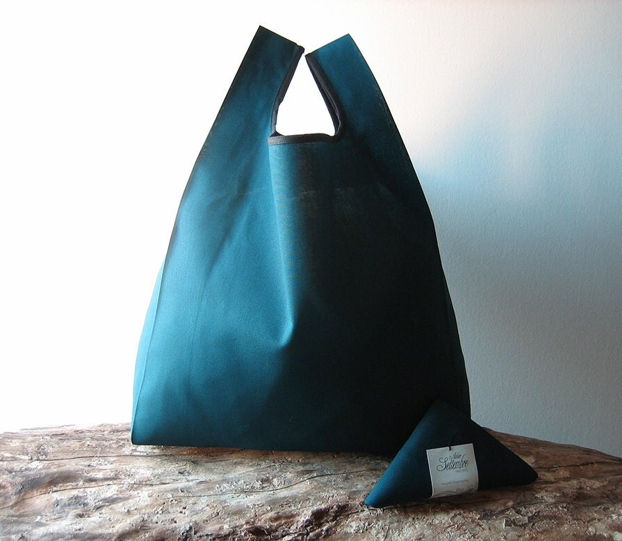 man lunch bag / minimal men tote bag / teal cotton shopper /