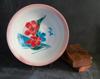 Vintage large enamel bowl, enamelware.Boho kitchen .Kitchenalia