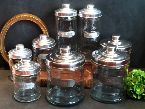kitchen glass canisters with lids 8 french retro kitchen glass jars canisters with chrome lids 7121