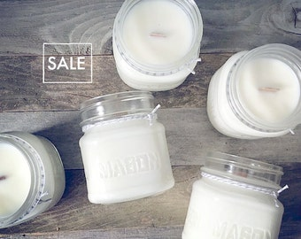 SALE! Pick 3 Wood Wick Candle Mason Jar Soy Candle - Perfect Gift - 8oz - Holiday