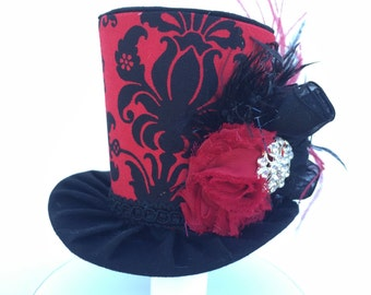 Red and Black Damask Mad Hatter Mini Top Hat for Dress Up, Birthday, Tea Party or Photo Prop