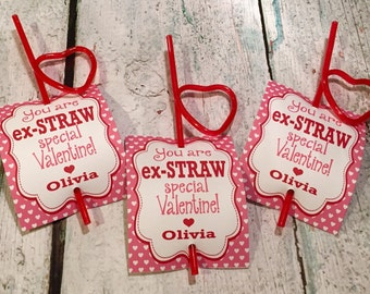 INSTANT DOWNLOAD - Girly Girl Crazy Straw Valentine's Day Treat Tags Cards