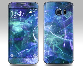 BLUE ABSTRACT Galaxy Decal Galaxy Skin Galaxy Cover Galaxy S6 Skin, Galaxy S6 Edge Decal Galaxy Note Skin Galaxy Note Decal Cover