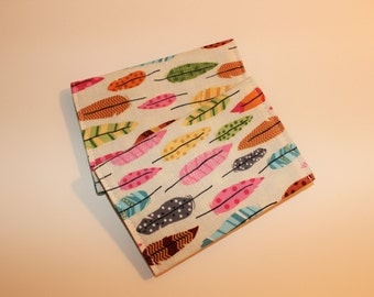 Card Wallet - Multicolor Feather - Credit Card Holder, Student ID, Gift Card, Fabric Card Wallet