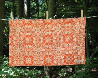Large Dish Drying Mat - Cream and Orange Geometric Print - by The Quilted Tulip - Kitchen