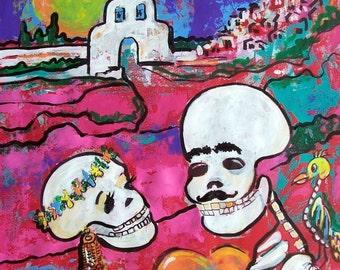 Halloween Skeleton Lovers Day of Dead original painting Dia de los Muesrtos Mexican art wall decor  19.5 x 25.5