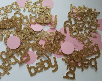 50 BABY and circles scrapbooking party confetti / cuts gold glitter baby shower table decoration