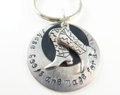 Hand stamped walking boots keychain