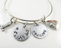 Hand stamped expandable - a little bit country - bracelet