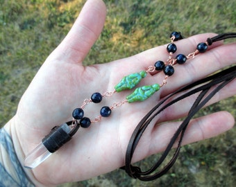 CLEAR QUARTZ CRYSTAL and Blue Goldstone Leather and Copper Necklace with Mother Goddess Beads - Pagan Jewelry, Boho Jewelry, Wiccan Jewelry