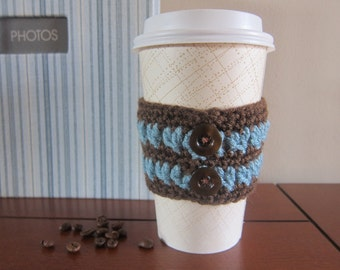 Blue Stripe Coffee Cozy with Buttons, Button Cozies, Crochet Cup Sleeve, Coffee Cup Sleeve, Crochet Cup Cozy, To Go Cup Cozies