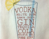 Cocktail Lovers Towel - Recipe Towel - Kitchen Towel - Embroidered Kitchen Towel - Long Island Iced Tea - Hostess Gift - Housewarming gift