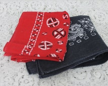 Vintage Two Bandanas Red, Blue Fast Color