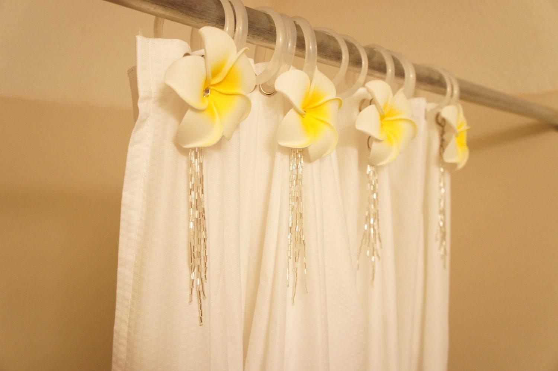 Hawaiian Bathroom Decor: Hawaiian Theme Shower Curtain Decor 4 Set For Hooks White