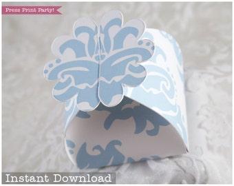Flower Favor Box Baby Blue - Printable Paper Box DIY - Wedding Favors - INSTANT DOWNLOAD pdf