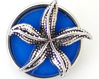 1 PC 18MM Blue Starfish Nautical Enamel Silver Candy Snap Charm kb6469 CC1305