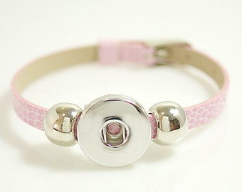 """1 Pink Faux Leather Buckle Bracelet - 5-7"""" FITS 18MM Candy Snap Charm Jewelry Silver kb0993 CJ0266"""