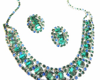 Vintage Bib/Collar Emerald and Montane Rhinestone Necklace and Earrings