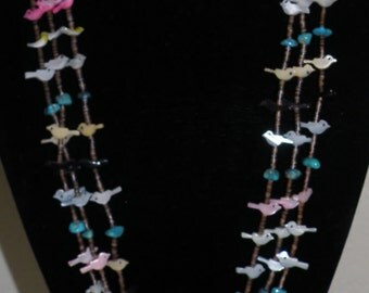 Vtg Turquoise Native American 3 Strand Necklace