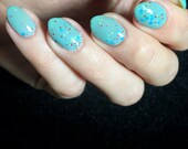 Ford Anglia - Custom Handcrafted Harry Potter inspired mint baby blue glitter nail polish