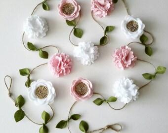Flower Garland -White, Pink, Gold- Nursery Decor, Wall Hanging, Felt Flower Garland, Floral Garland, Girl Room garland banner
