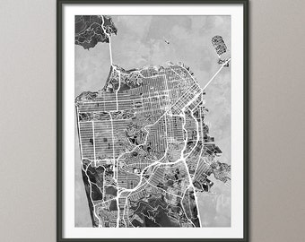 San Francisco Map, San Francisco California City Street Map, Art Print (2335)