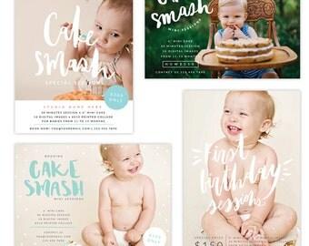 INSTANT DOWNLOAD - Cake Smash Marketing Board Bundle templates - E1346
