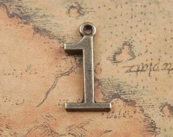 Number 1 Charms, Bulk 40 Charms, Antique Bronze 21 x 10 mm U.S Seller - bz354
