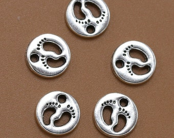 Footprint Charm, 12 Baby Feet Charms, Antique Silver, 11 mm Round U.S Seller - ts972