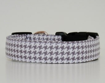 Gray White Houndstooth Dog Collar Wedding Accessories Made to Order