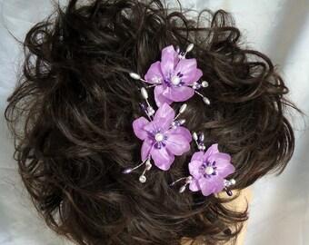 Wedding Hair Flowers, Mini Hair Flowers, Lilac Lavender Hair Pins, Set of 3, REX16-614, Wedding Accessories