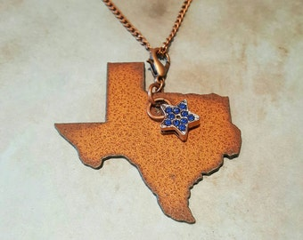 Texas Anituqe Copper Metal Pendant Necklace with Crystal Blue Star Charm
