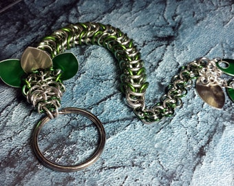 Green and Silver Dragon Keychain