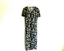 90s navy blue floral maxi dress / vintage grunge daisy print short sleeve button down maxi dress m/l