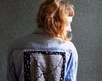 Vintage Denim Shirt, Hand Screen print Patch on back