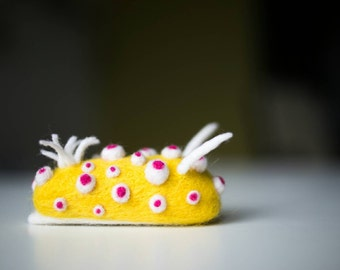 Cadlinella ornatissima, miniature needle felt nudibranch sculpture, wool sea slug, gift for divers and marine biologists