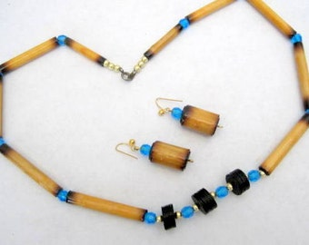 Bamboo Aqua Bead Necklace-  Black Spacer - Vintage Choker