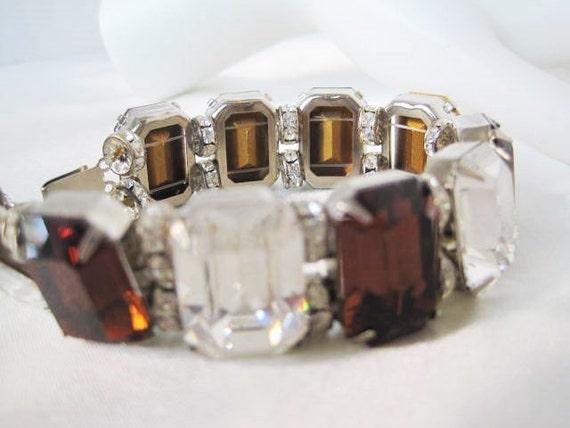 Topaz Rhinestone Bracelet - Vintage Jewelry - Clear Large Wide - 80's Links