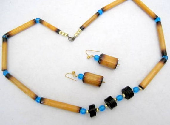 Bamboo Aqua Bead Necklace-  Black Spacer - Vintage Choker